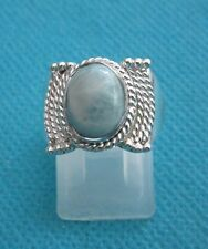 925 Sterling Silver Ring With Lovely Natural Blue Larimar UK O, US 7.25 (rg2755)