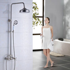 """Brushed Nickel Bath 8""""Round Shower Faucet System Rainfall Mixer Tap W/Handheld"""