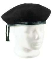 Wool Beret Black Classic Army Style Adjustable Size Military Artist Hat Cap