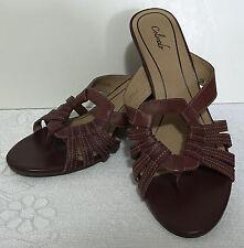 COLORADO leather Red WEDGE HEELS SANDALS open toe slide sz 9M  L512