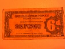 G.R.O.s THEATRE CANTEEN ARMY WAR  NOTE BRITISH ARMED FORCES VOUCHER 6 PENCE 6d