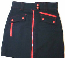 Marc Jacobs Solid Navy Red Wool Fully-Lined A-Line Skirt 2-Way Zip Above-Knee 10