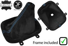 BLUE STITCHING REAL SUEDE GEAR BOOT+PLASTIC FRAME FITS NISSAN S13 1988-1993