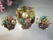 Vintage Designer Demi-Parure Cluster Brooch Pin Clip Earrings 3 Piece Set