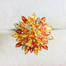 14k Solid Yellow Gold Cluster Ring With Marquise Multi-Color Sapphire3.39GM