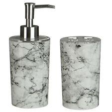 Set Of 2 Rome Grey Marble Effect Toothbrush Holder And Bathroom Liquid Dispenser
