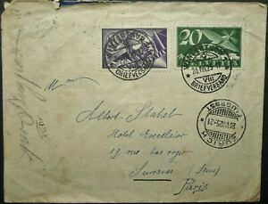 SWITZERLAND 26 AUG 1925 AIRMAIL COVER FROM WINTERTHUR TO PARIS, FRANCE