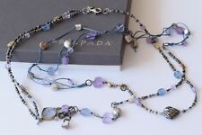 Silpada Sterling Silver Amethyst Pearl Brass Shell Long Cord Necklace N2246