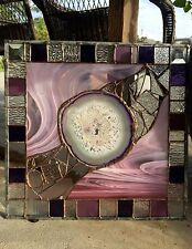 Stained Glass Tiffany St  Abstract  Contemporary Panel  with Brazilian Agate