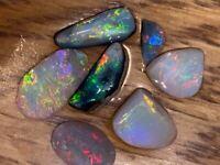 Australian Lightning Ridge Quality Solid Black and Crystal Opal GEM Rubs VIDEO