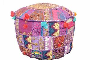 22'' Indian Patchwork Round Pouf Ottoman Cover Foot Stool Moroccan Pouffe Cover