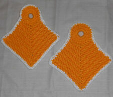 Vtg New Homemade Hand Made Pair Orange Crocheted Thick Hot Pad Pot Holders-7H