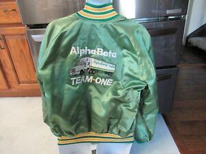 Alpha Beta Grocery Truck driver shiny satin jacket vintage 1980's XL  KEN