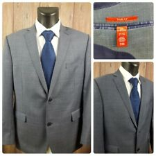 Saks Fifth Avenue RED Men's 44R Two Button Window Pane Wool Suit Jacket Gray EUC