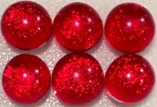 Lot of 6 XS TWINKLE RUBY RED Fused Glass DICHROIC Cabochons NO HOLES Beads 7mm