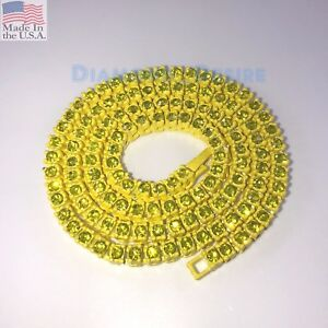 COLOR ICED HIP HOP Gold Plated 1 Row Lab Diamond Necklace Chain one jeweled out