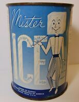 Sealed New Old Vintage 1950s MR ICE MAN GRAPHIC TIN FREEZIT CORP. DALLAS TEXAS
