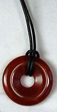 Lithothérapie - Minéraux - Pendentif Donut de Cornaline avec cordon Neuf
