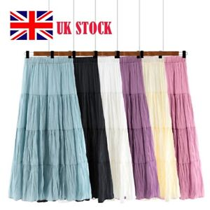 Ladies Womens Cotton Skirt Maxi Embroidered Lace Gypsy Boho Casual Festival