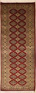 Rugstc 2x6 Bokhara Jaldar Red Runner Rug, Hand-Knotted,Geometric with Silk/Wool