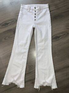 AMERICAN EAGLE SUPER HI RISE CROP FLARE Exposed Button Fly Jeans Sz 2
