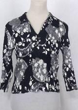 Alberto Makali Designer Black White Floral Sequin Crinkle Stretch Top M $149