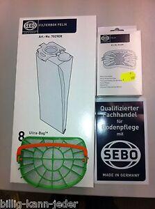 SEBO FILTERBOX 7029ER für FELIX ,DART  8 Staubsaugertüten mit Motorfilter 7012ER