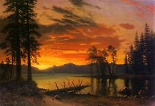 """Hand painted Oil painting stunning landscape Sunset over the River on canvas 36"""""""