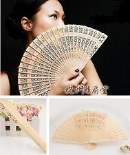 Vintage Folding Bamboo Original Wooden Carved Hand Fan Wedding Bridal Party  HS