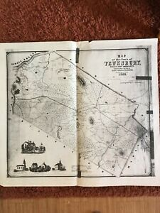 Large Antique Reproduction of 1852 Map of Tewksbury, MA
