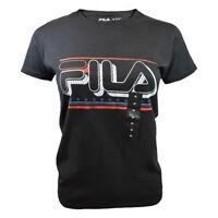 FILA Women's T-shirt - Athletic Active Sport Apparel - Sketchbook / Stars BLACK