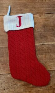 RED Cable Knit Christmas Stocking w/ White Monogram Initial Letter J 19""