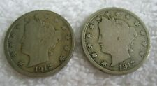 "TWO Liberty ""V"" Nickels, 1912 VG-F and 1912-D VG, Both Full Rims, Honest Wear"