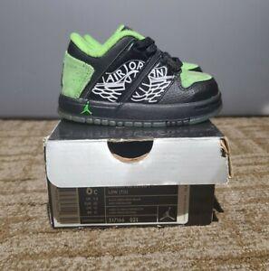 2007 Nike Air Jordan RARE Black Green Toddler Baby Vintage Retro Shoes Size 6C