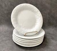 "Set of 7 Gibson Everyday Housewares SALAD PLATES FRUIT Embossed White 7 1/2"""