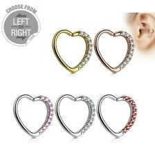 Heart Gem Stud Hoop Cartilage Helix Daith Rook Tragus Snug Ear Rings Piercing