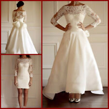 Two in One Lace Wedding Dresses Bridal Gown Belt White/Ivory Detachable Skirt