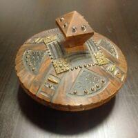 Boîte Art Déco bois et métal belle patine état impeccable décor géometrique 1940