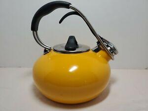 "Chantal Yellow ""LIVESTRONG"" 1.8 Quart Enamel Whistling Tea Kettle Some Blemishes"