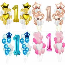 Baby Boy Girl 1st First Birthday Latex Confetti Balloon I Am One Bunting Banner