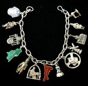 Vintage sterling silver charms bracelet ITALY EGYPT