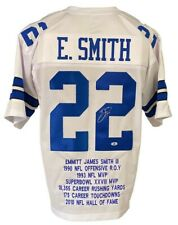 Dallas Cowboys Emmitt Smith Autographed Pro Style White Stat Jersey BECKETT A...