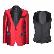 Dolce & Gabbana Red Silk Tuxedo Dinner Jacket With Bib Waistcoat IT.48 RRP £1850