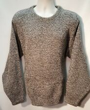 Lands End Men's Gray Marled Wool Crew Neck Sweater Made in USA Size Large EUC