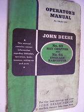 Vintage John Deere Operators Manual -# 62 Chopper & # 64 Harvester