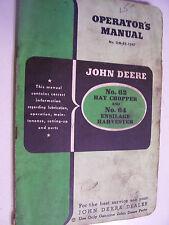VINTAGE  JOHN DEERE OPERATORS MANUAL -# 62 CHOPPER & # 64 HARVESTER