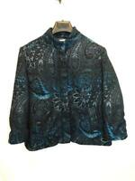 Chico's Size 2 L Black Black Paisley Blazer Jacket Raised Velvet Lined Button lg
