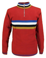Mens Red Retro Stripe Knitted Cycling Top