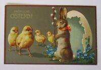"""""""Ostern, Personifiziert, Hase, Küken, Osterei""""1910, Prägekarte ♥"""
