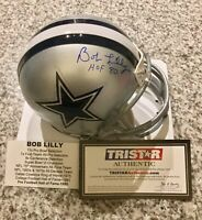 BOB LILLY AUTOGRAPH DALLAS COWBOYS MINI HELMET HOF '80 INSCRIPTION TRISTAR COA